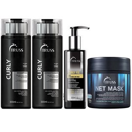 Kit Truss Curly Shampoo + Condicionador - 300ml + Máscara Net Mask - 550g + Fixador Curly Fix - 250ml