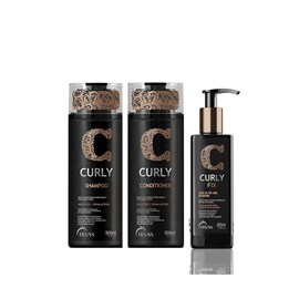 Kit Truss Curly Vegano Shampoo e Condicionador 300ml + Ativador de Cachos Curly Fix - 250ml