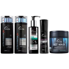 Kit Truss Ultra Hydration Plus Shampoo + Condicionador + Máscara Net Mask - 550g + Brush - 250 + Gloss Shine - 90ml