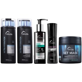 Kit Truss Ultra Hydration Shampoo + Condicionador - 300ml + Máscara Net Mask - 550g + Brush - 250ml + Gloss Shine - 90ml