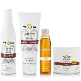 Kit Yellow Nutritive Shampoo - 500ml + Leave-in - 250ml + Máscara - 500ml + Óleo de Argan - 120ml