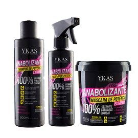 Kit Ykas Anabolizante Shampoo 300ml + Máscara 450g + Leave-In 250ml