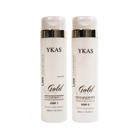 Kit Ykas Liss Treatment Gold Shampoo Step1 + Redutor de Volume Step 2 - 300 ml